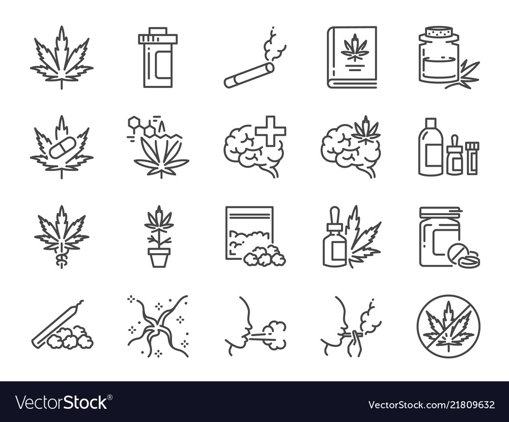 Cannabidiol icon set
