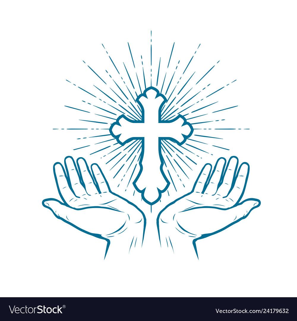 Church logo christian cross icon or symbol