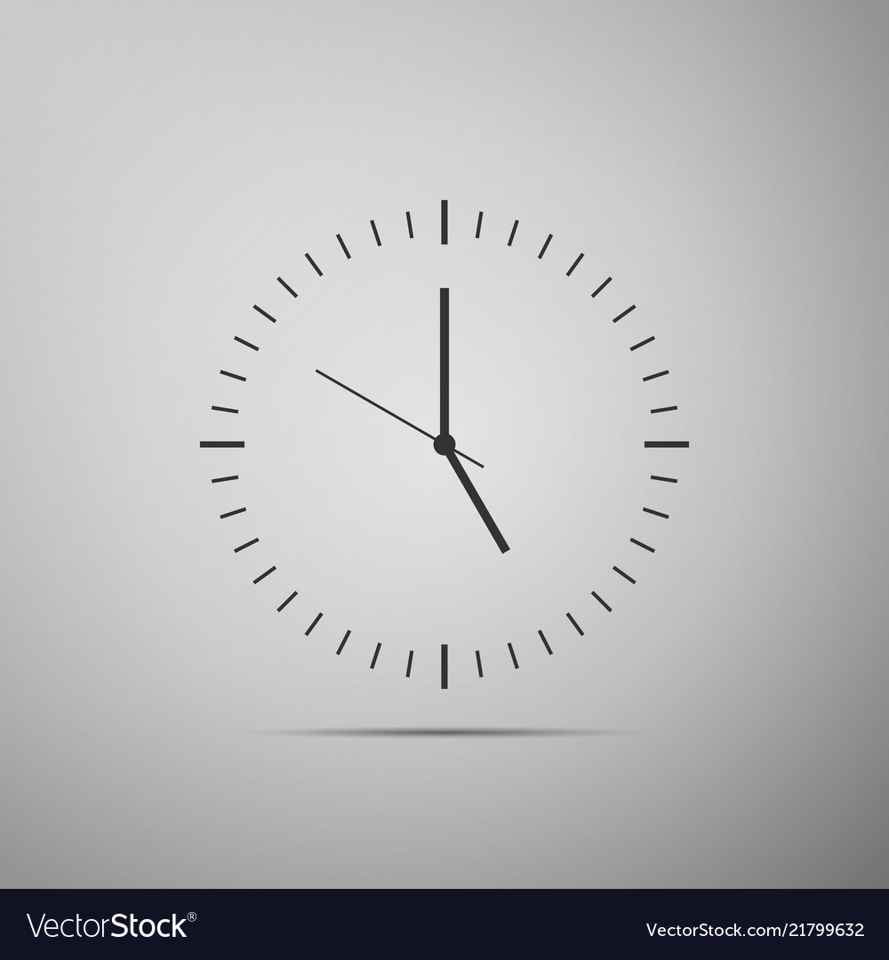 Clock icon isolated on grey background time icon
