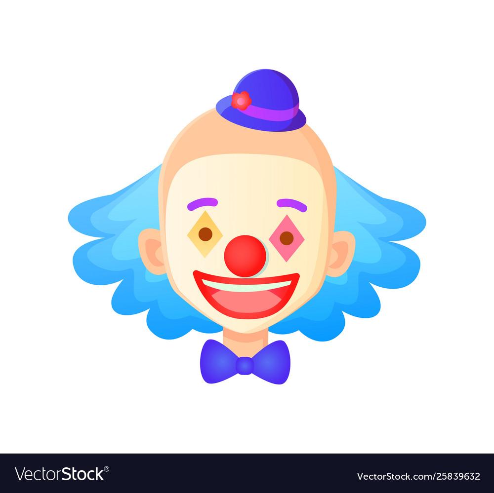 Clown face wearing hat closeup smiling man