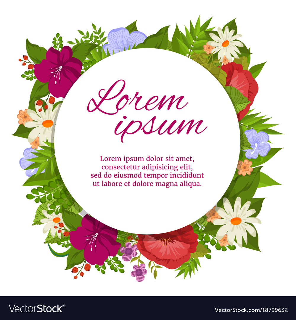Colorful Flourish Round Banner Design For Wedding Vector Image