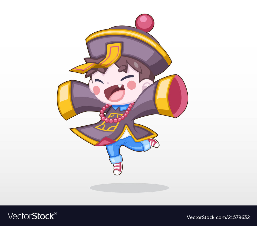 Cute child in chinese zombie costume