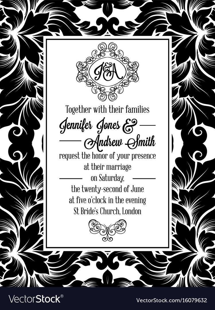 Damask victorian brocade pattern invitation vector image