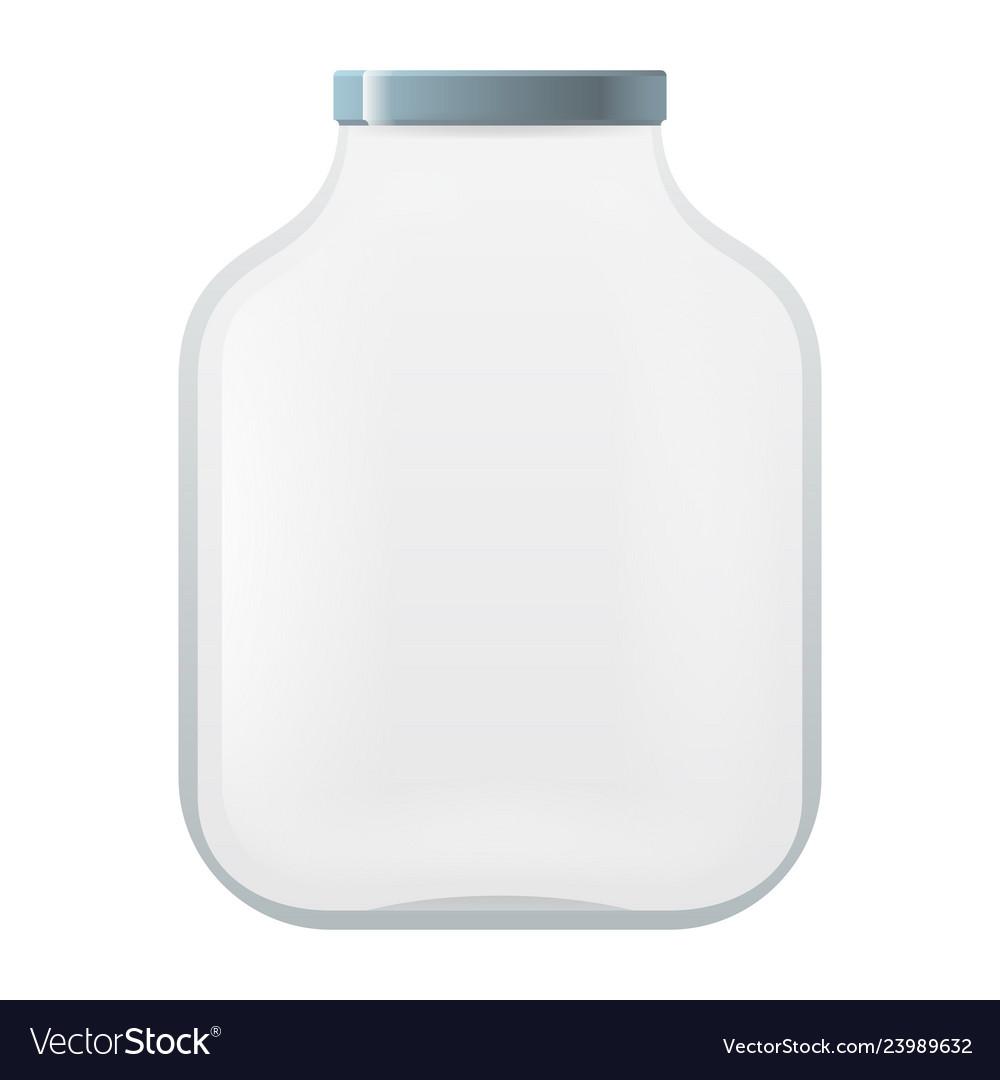 Empty glass pot jar isolated mockup icon 3d