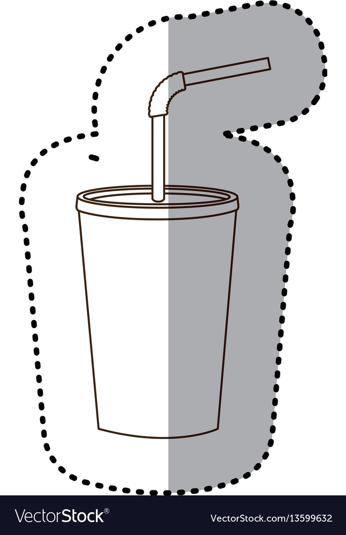 Figure drinks soda with flat icon