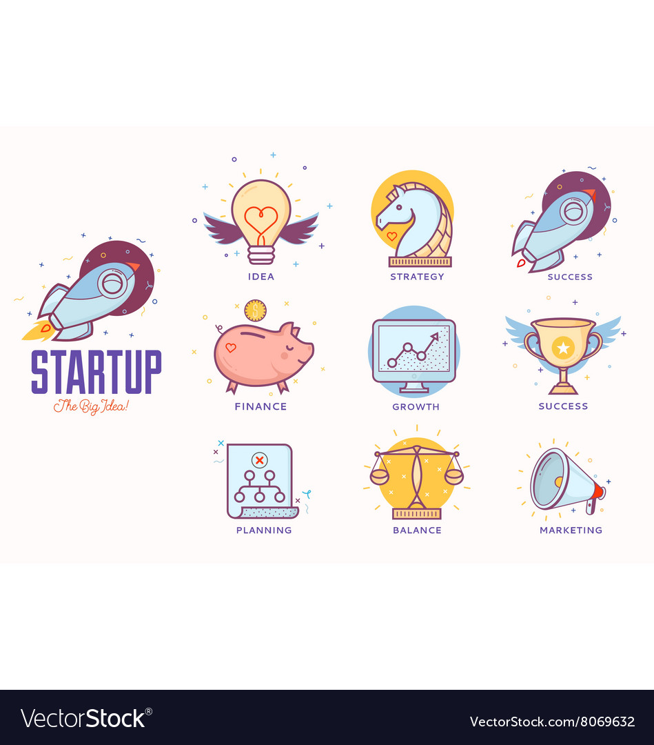 Flat icons for startup project
