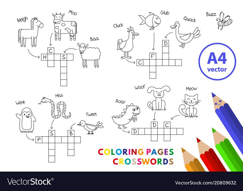 Funny animals coloring book crosswords
