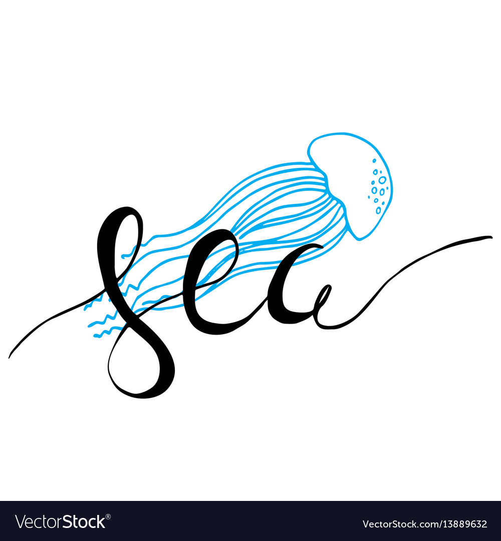 Hand drawn lettering card - sea
