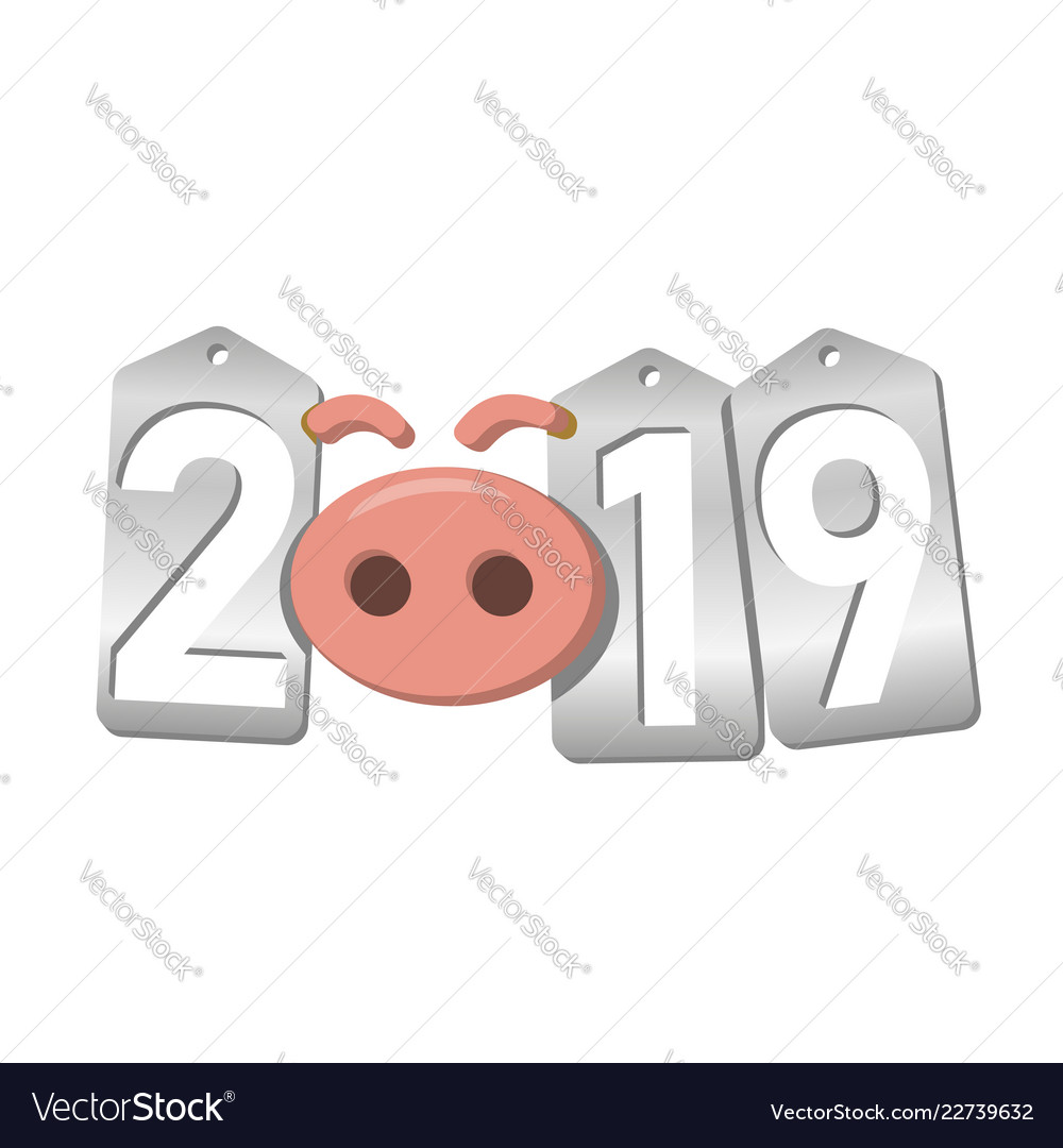 Happy new year background pink pig 3d silver