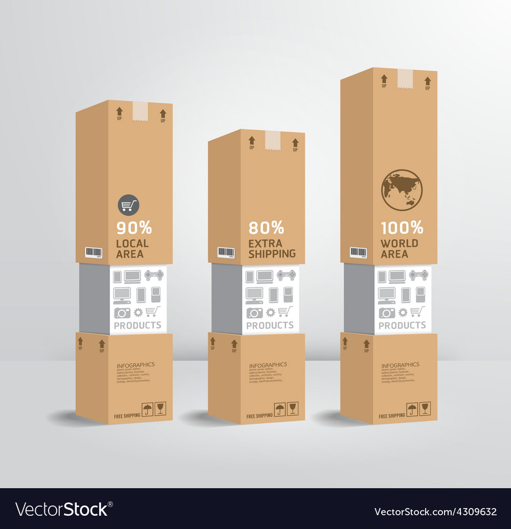 Infographic template product shipping paper box