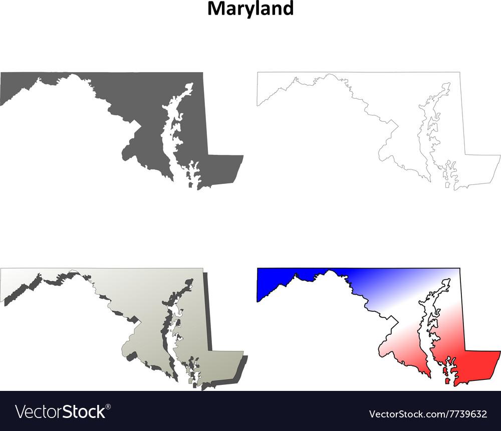 Maryland outline map set