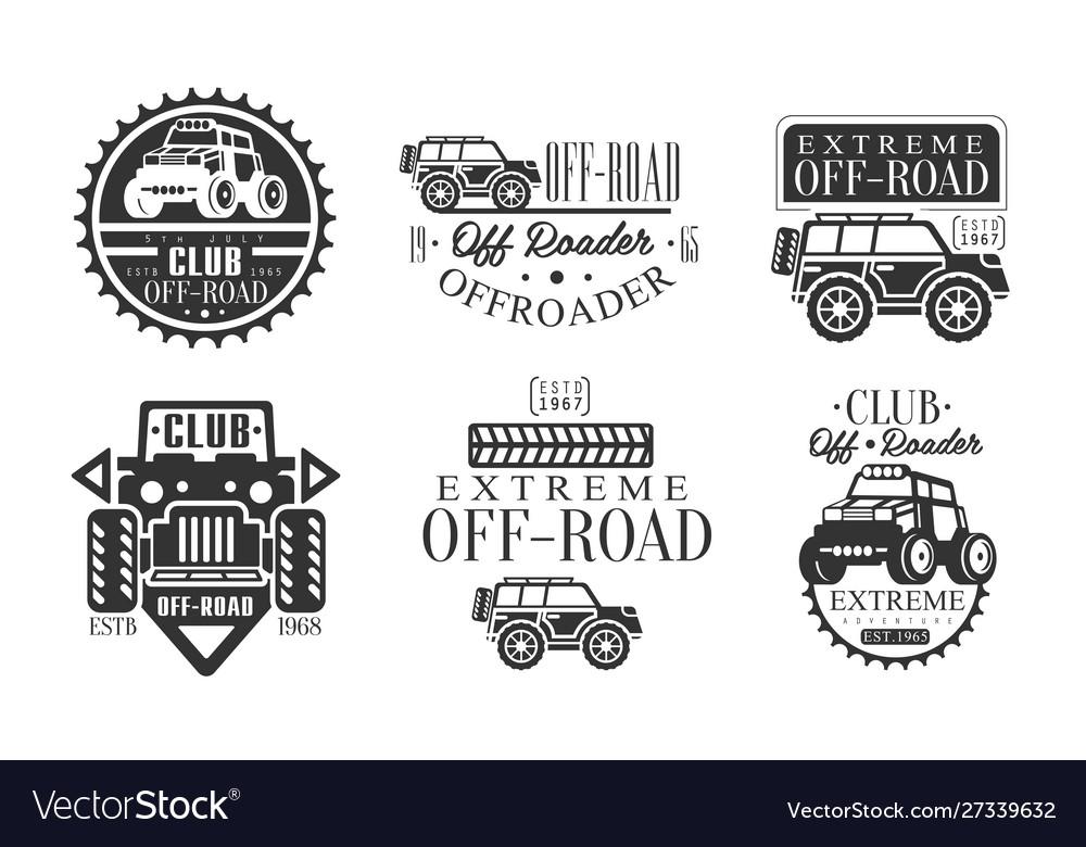 Offroader club retro logo set off road adventures
