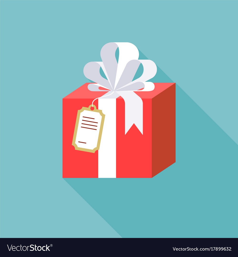 Present box with ribbon and paper tag vector image