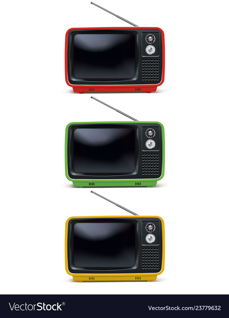 Retro tv vintage television set isolated on