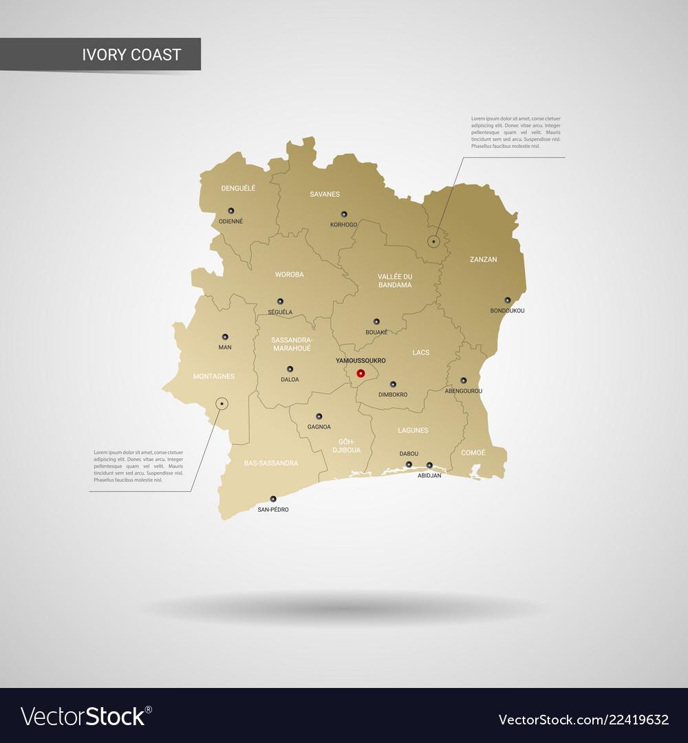 Stylized ivory coast map Royalty Free Vector Image