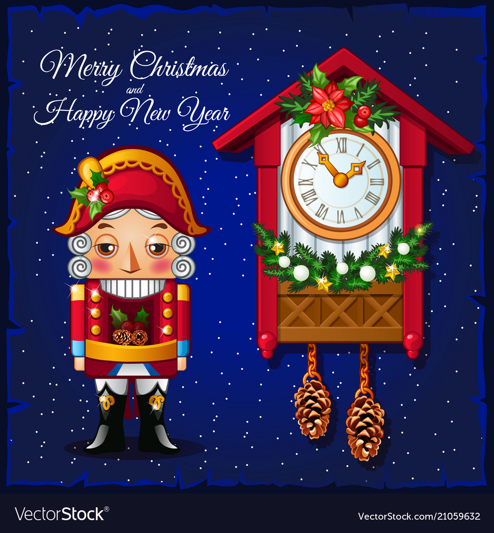 Template christmas greeting card with nutcracker