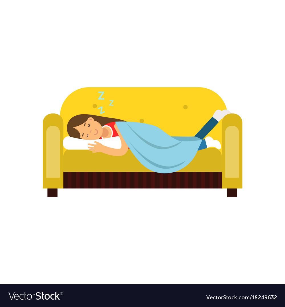 Enjoyable Young Woman Sleeping On The Sofa Under Blanket Ibusinesslaw Wood Chair Design Ideas Ibusinesslaworg