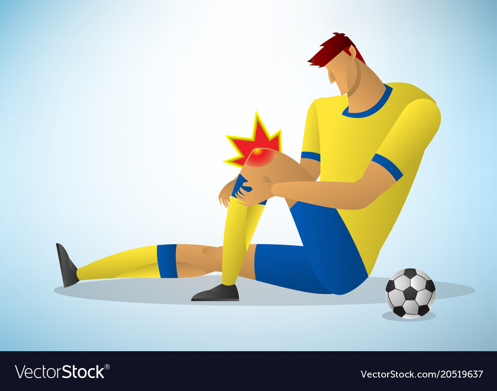 Football player injured on the knee