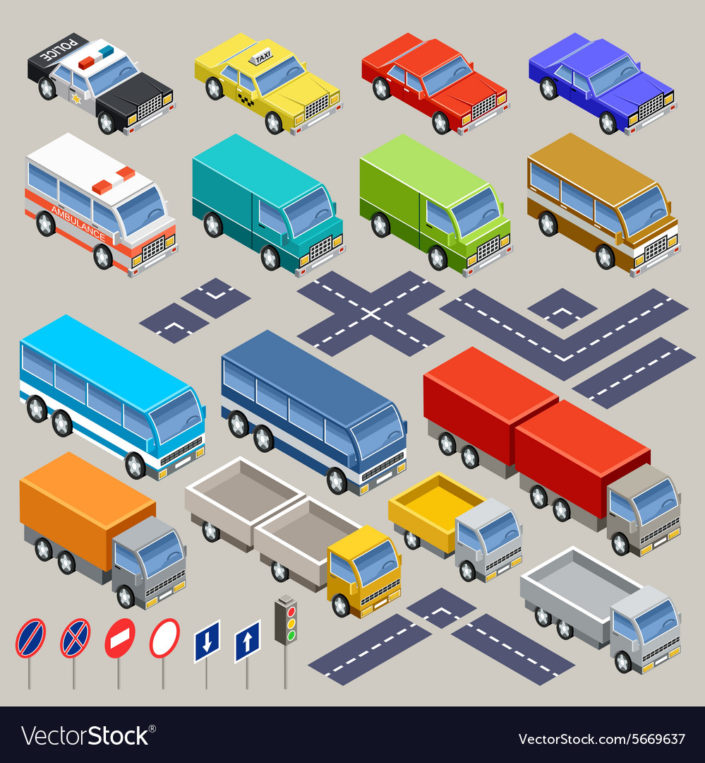 Isometric road set vector image