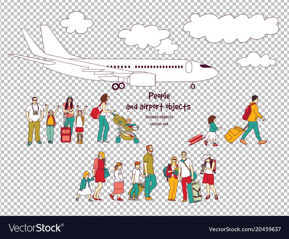People and airport isolated objects transparent