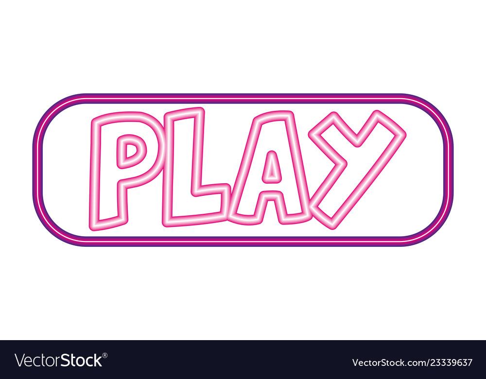 Play button neon white background