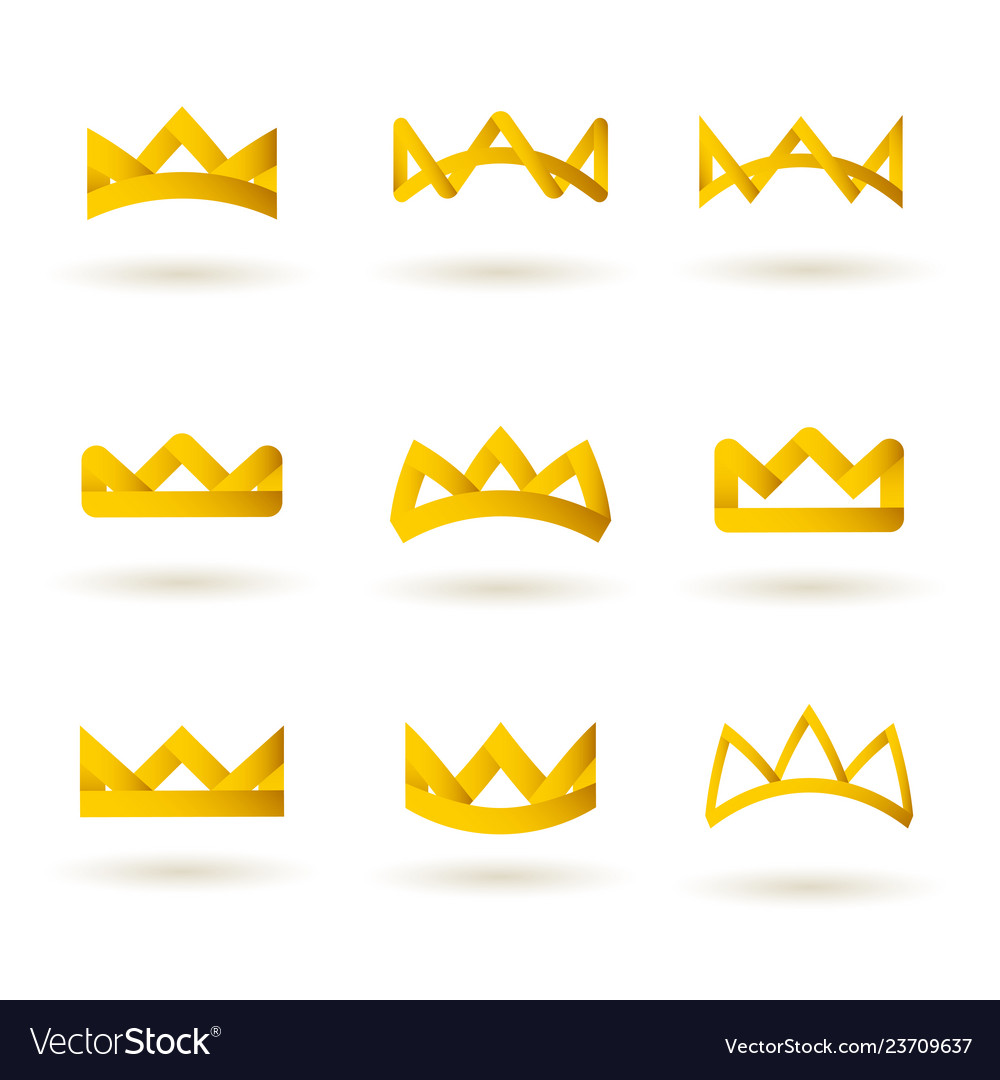 Set golden modern crowns icons