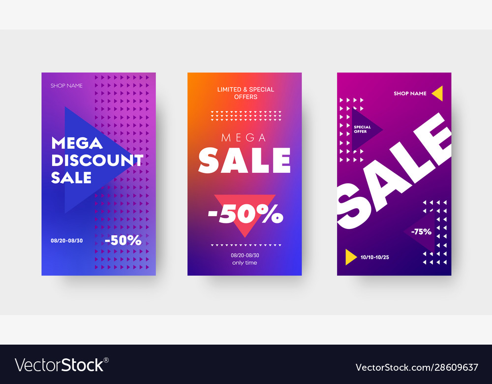 Set purple gradient banners with triangles and