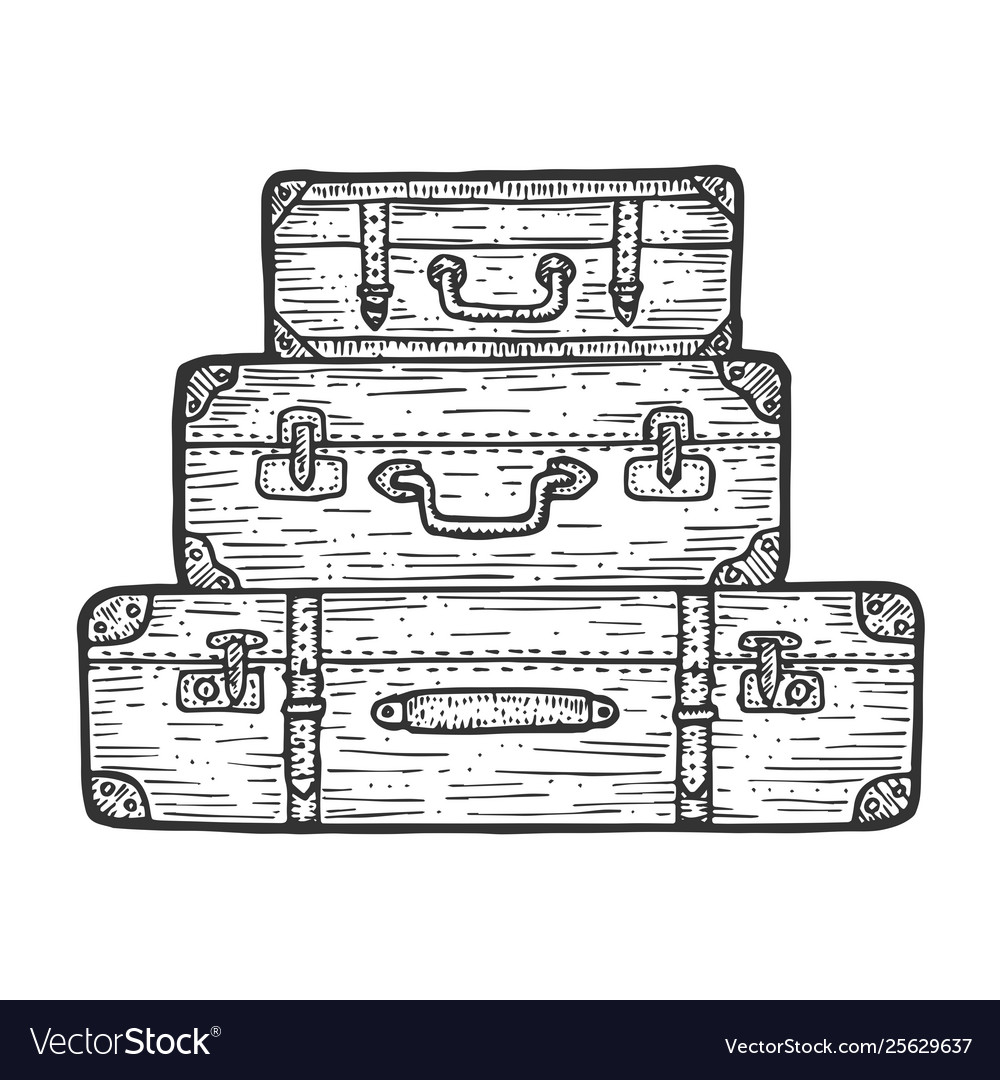 Suitcase travel bag sketch engraving