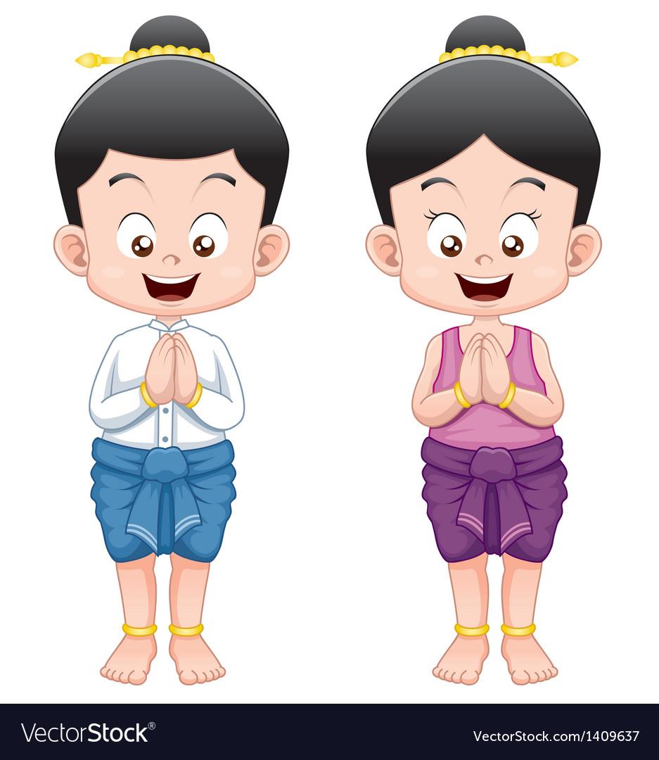 Thai kidsSawasdee vector image