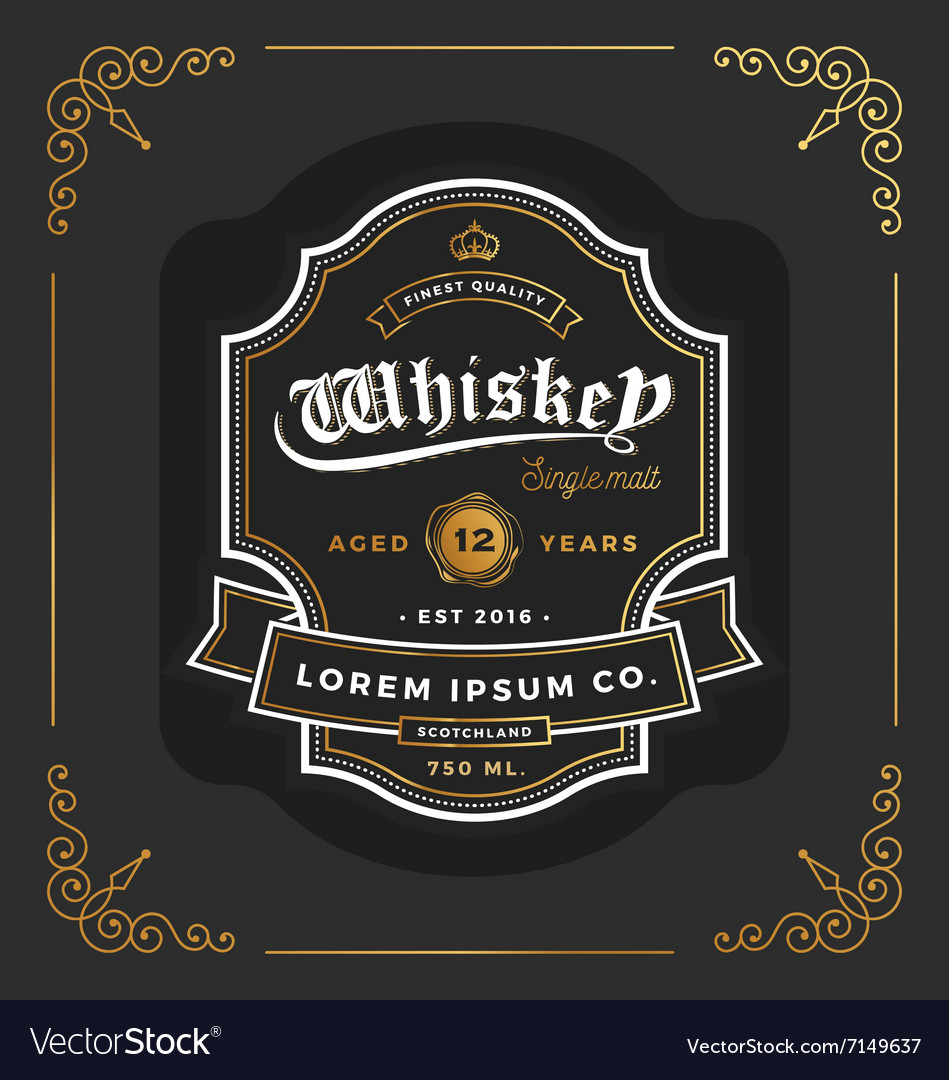 Vintage frame label design Suitable for Whiskey