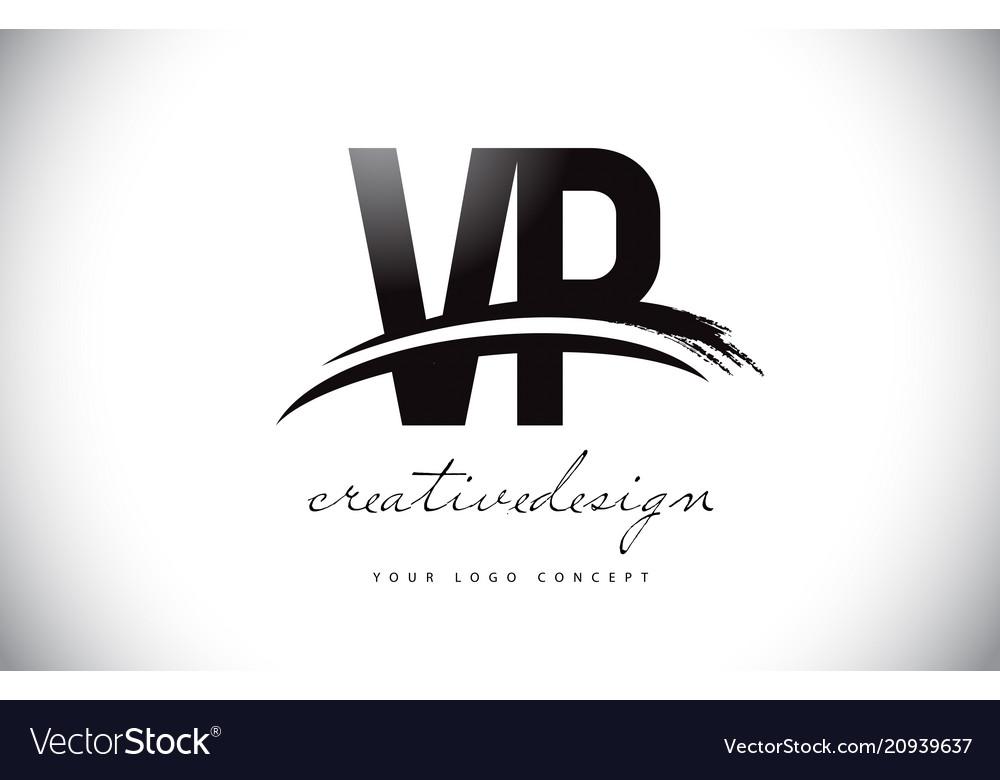 Vp v p letter logo design with swoosh and black