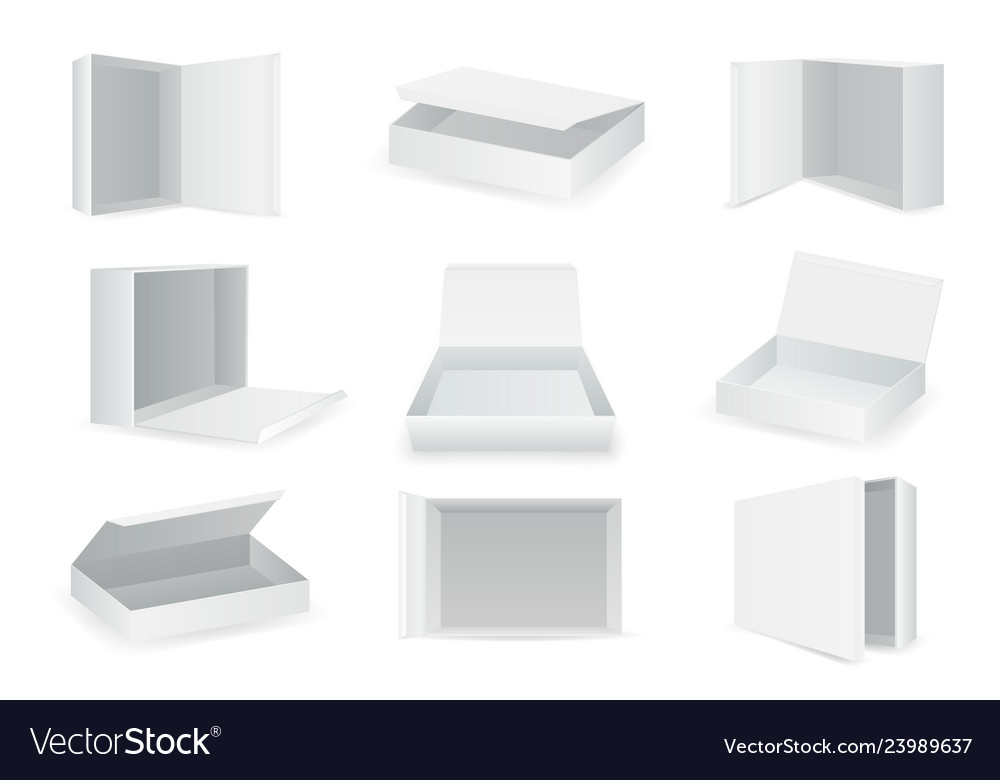 White paper cardboard package boxes isometric open