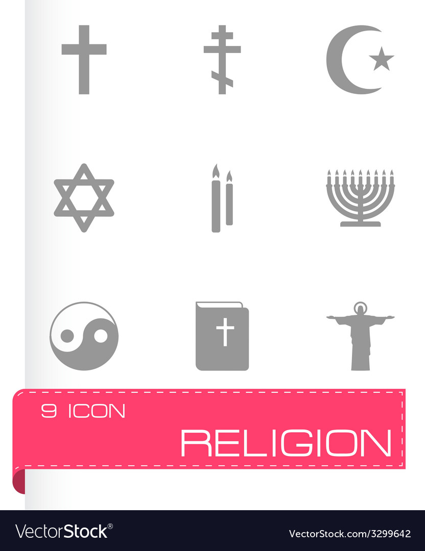 Black religion icons set