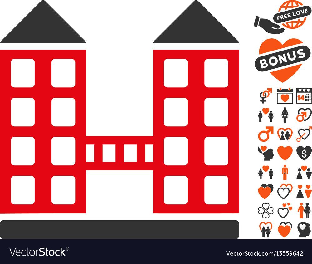 Company building icon with valentine bonus vector image