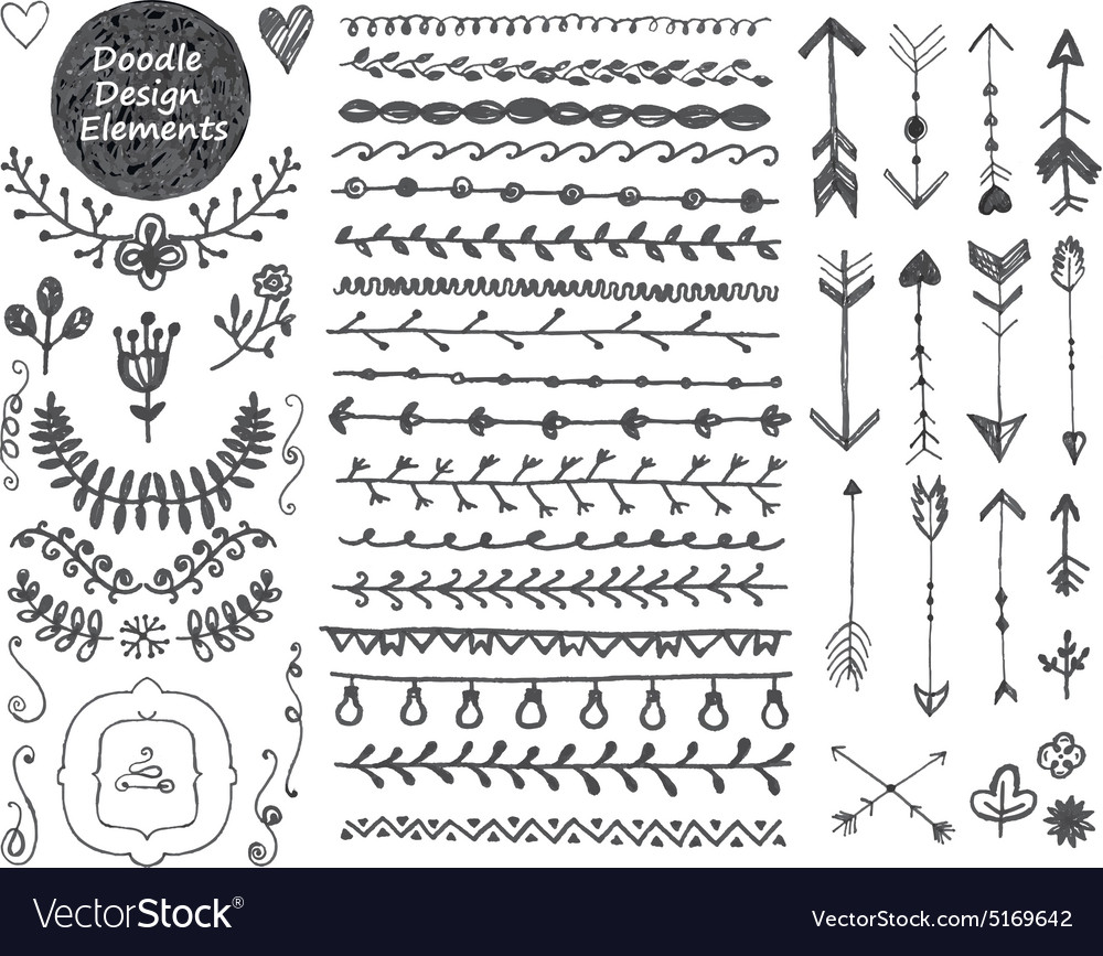 Floral decor set collection of hand drawn