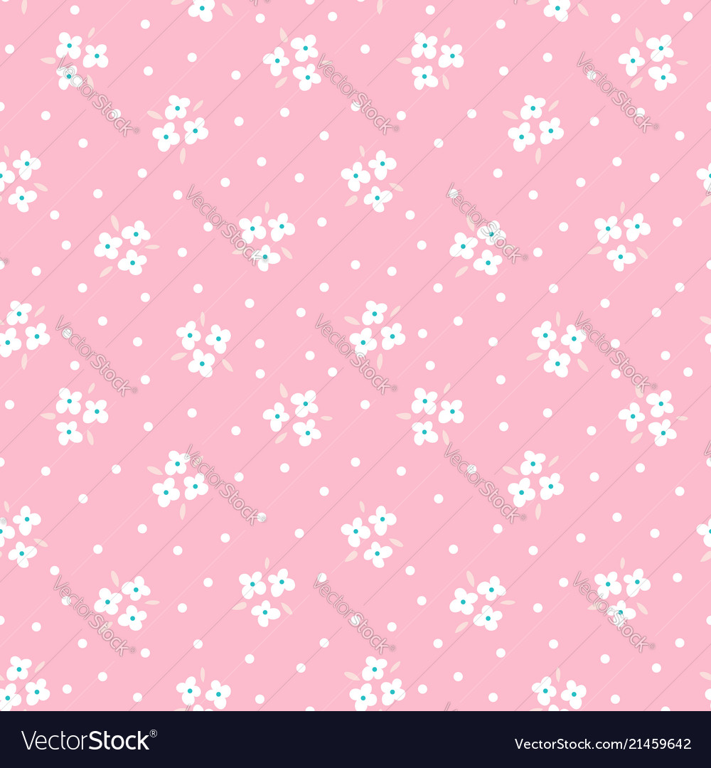 Floral seamless pattern with white flowers on pink