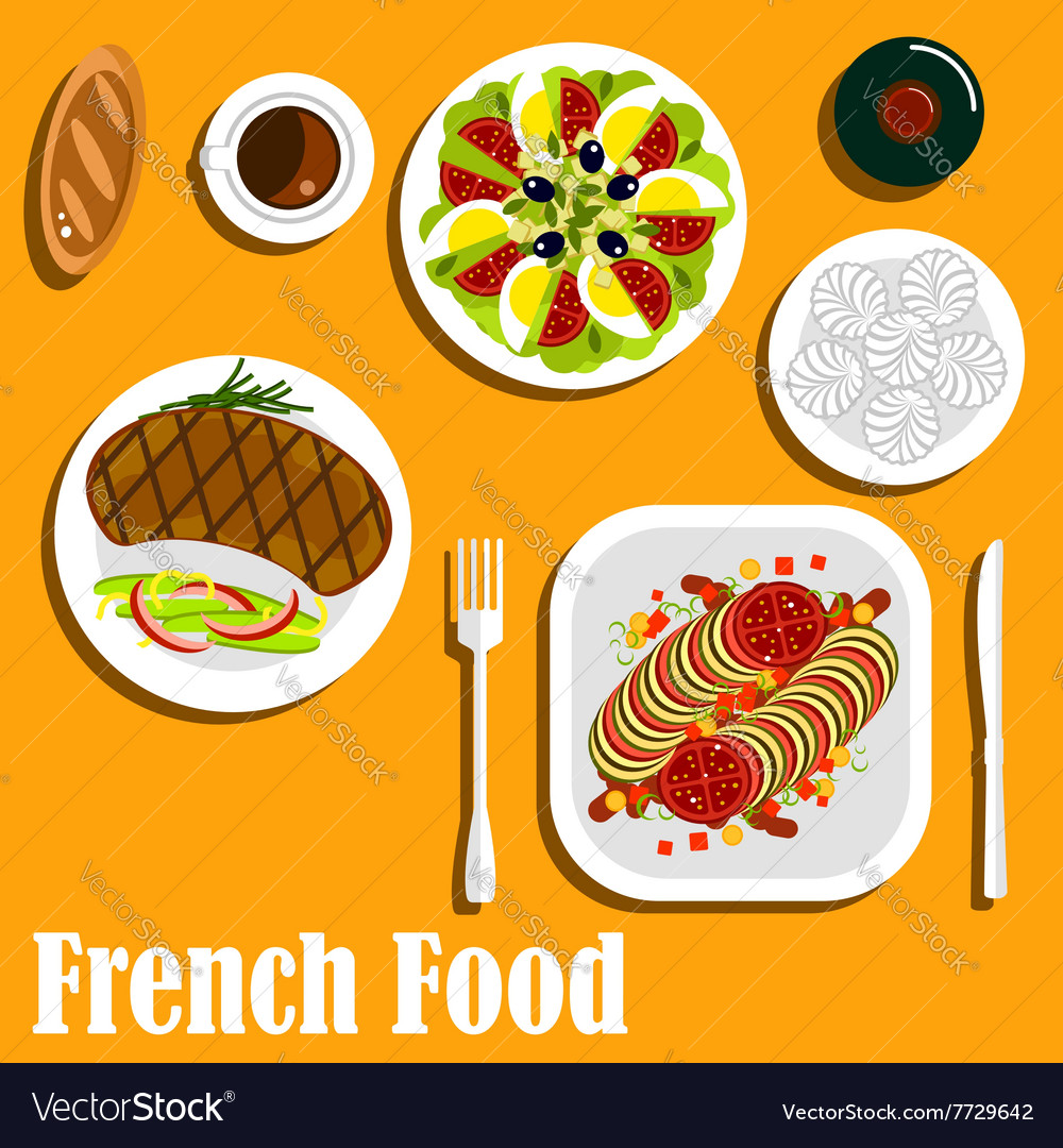 French cuisine main course and desserts vector image