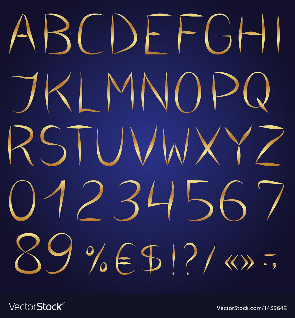 Golden decorative english alphabet