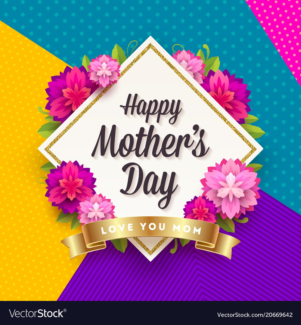 Happy mothers day greeting card design vector image m4hsunfo