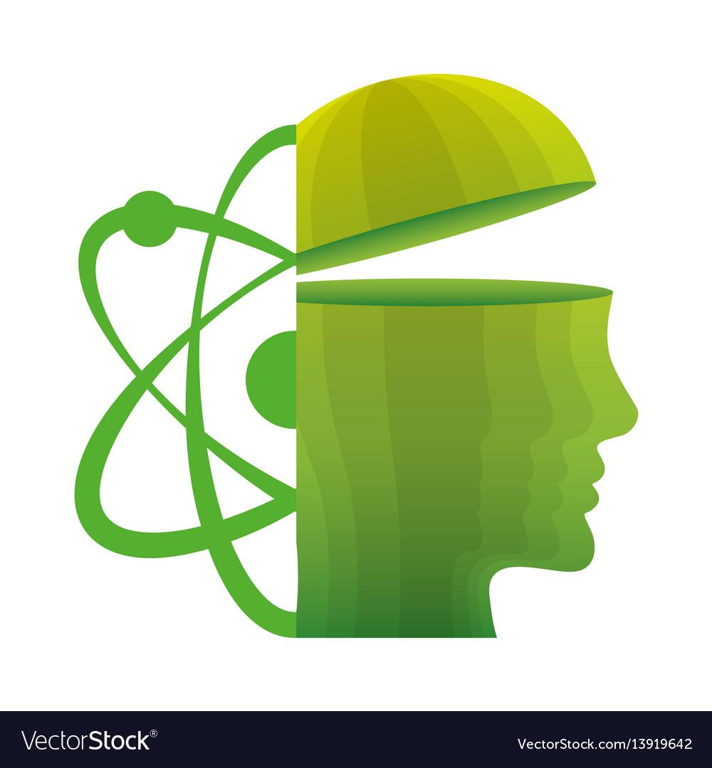 Head think green molecule atom