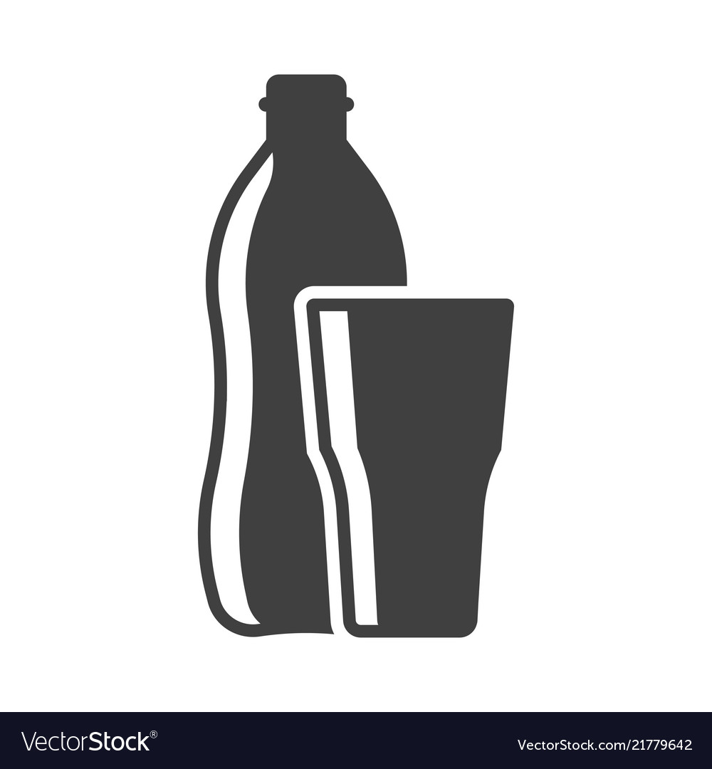 Icon of a bottle of water with a glass on