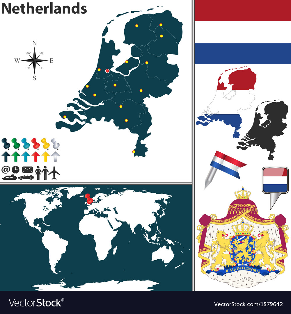 Image of: Netherlands Map World Royalty Free Vector Image