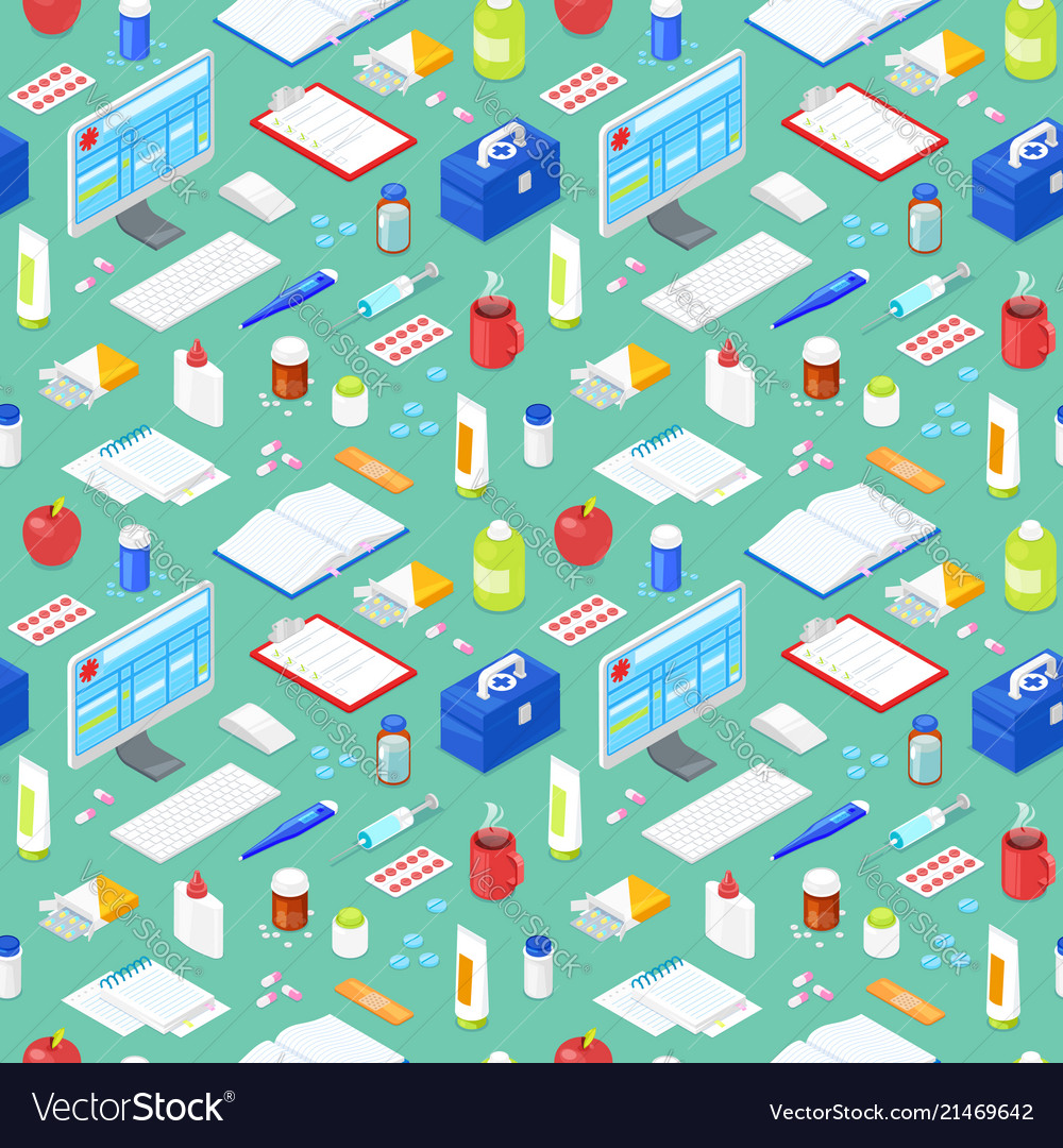 Seamless pattern with medical equipment