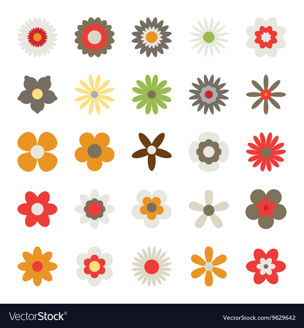 Set flowers isolated on white background vector