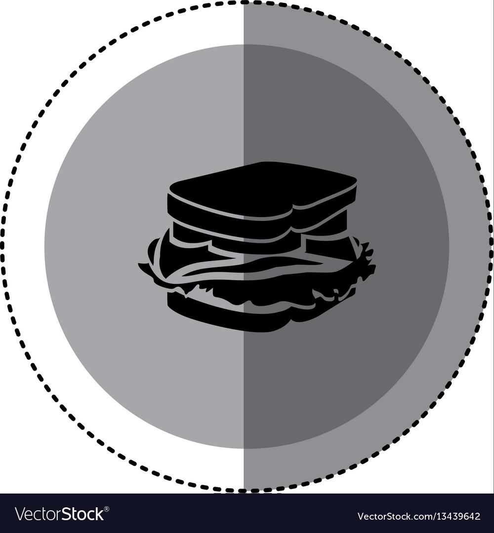 Sticker monochrome circular emblem with sandwich