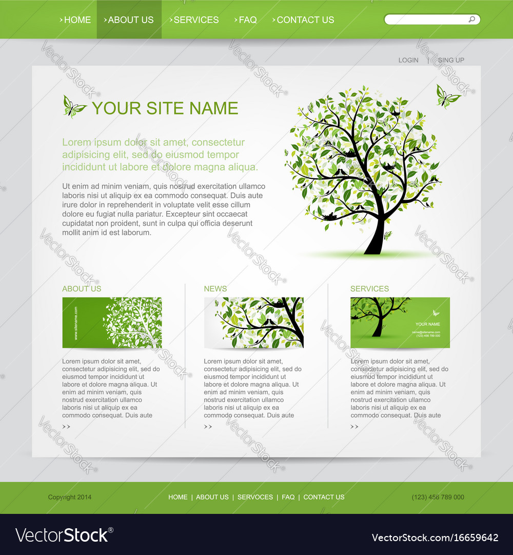 Website design template with green tree
