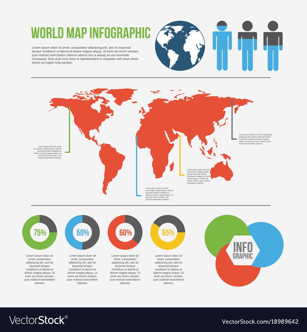 world map infographic chart percent presentation vector image