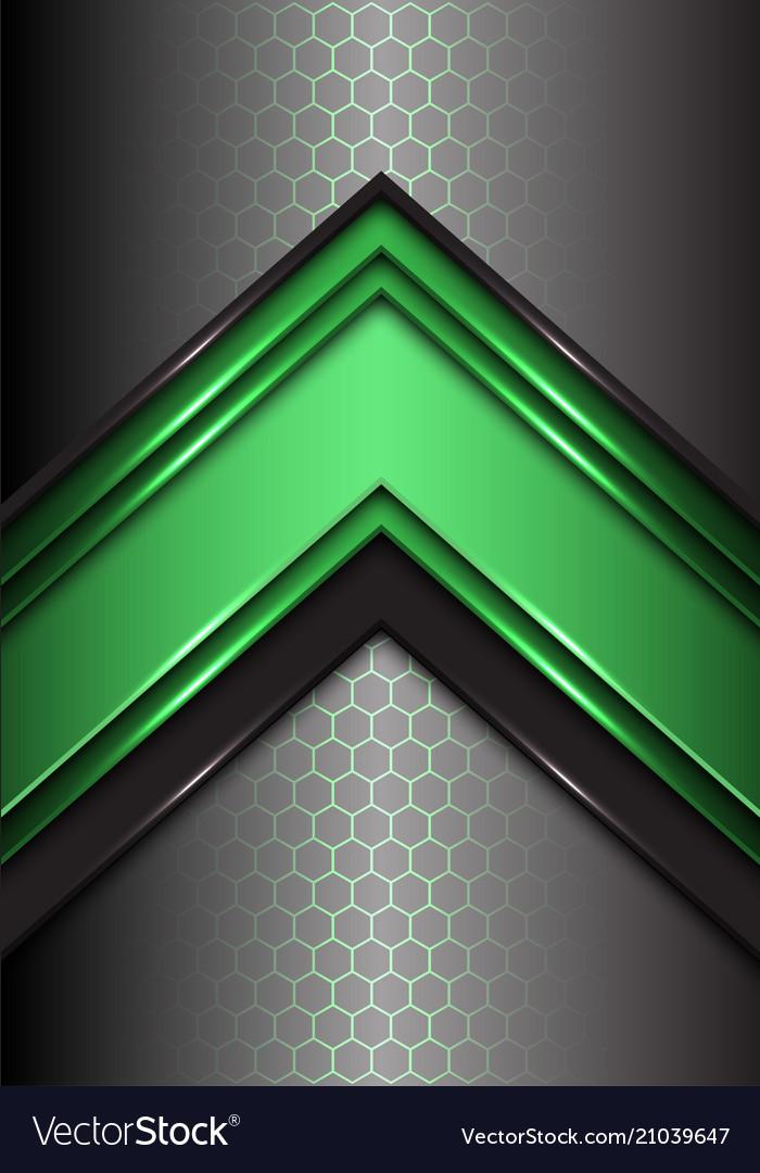 Abstract green black line arrow on hexagon mesh