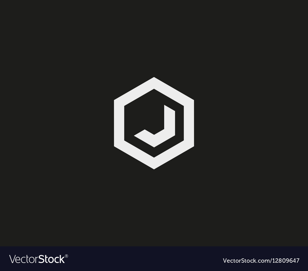 Abstract letter J logotype Line hexagon