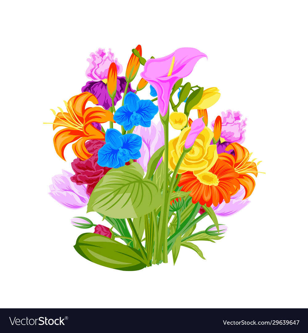 Floral wreath summer flowers arranged in wreath